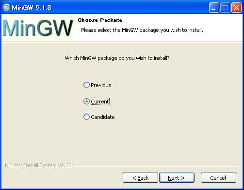 MinGWのインストール   Netsphere Laboratories